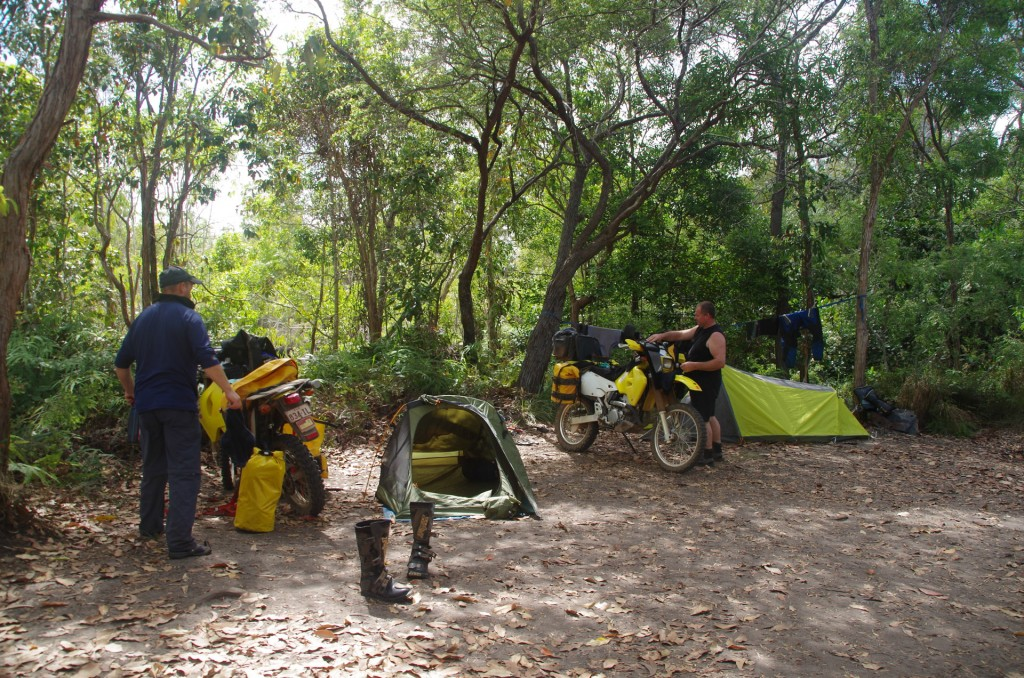 Two guys camped at Nolan's Brook on Suzuki DRz-400 dirt bikes