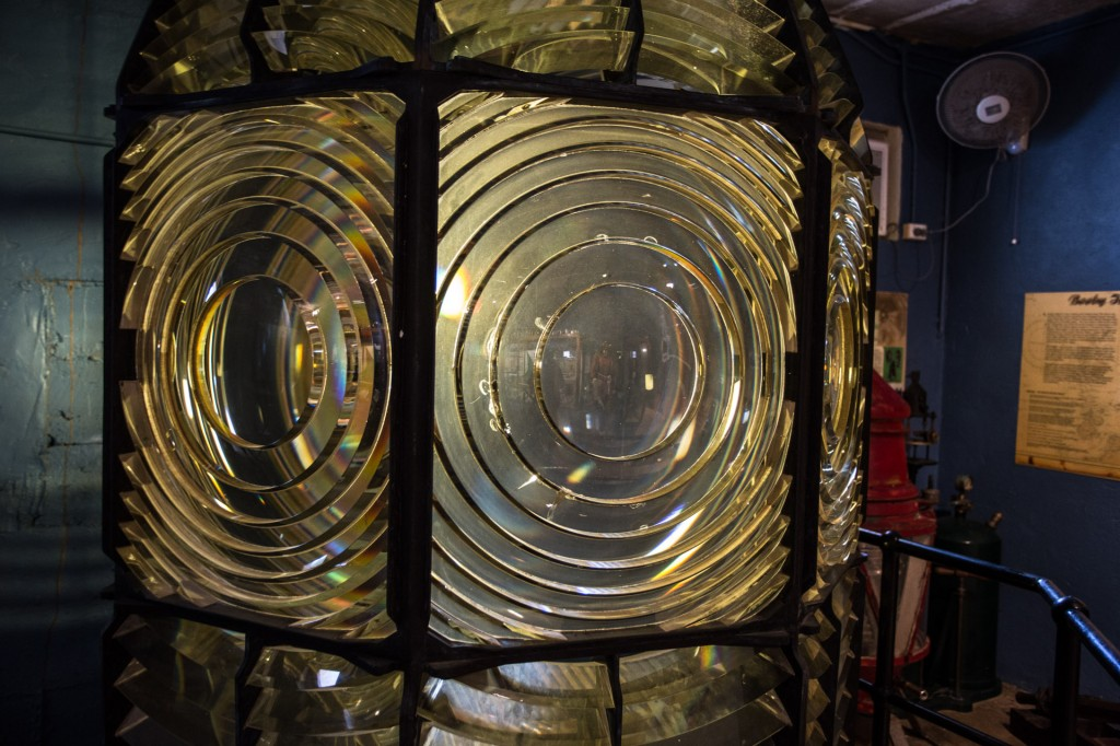 A Fresnel lens from a light house inside the museum at Green Hill
